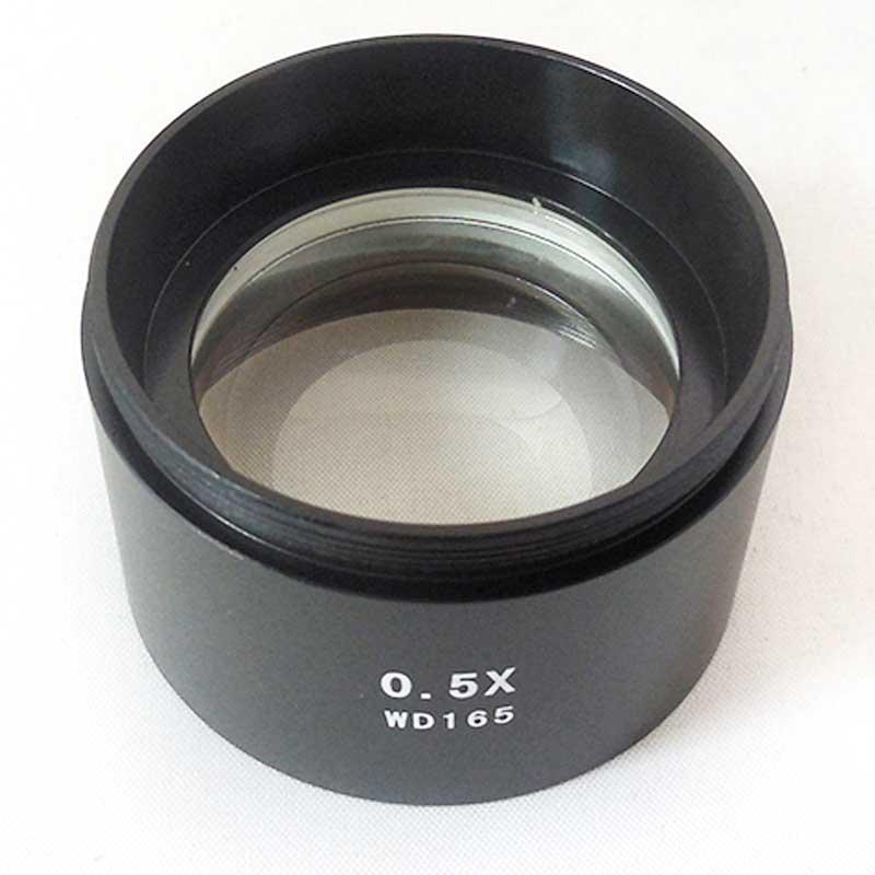 """WD165 0,5X microscopio stereo obiettivo ausiliario Lente di Barlow con filettatura di montaggio 1-7 / 8 """"(48mm)"""