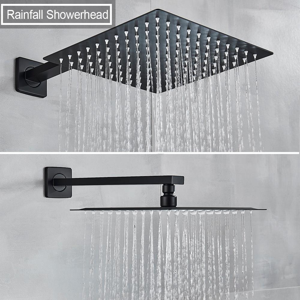 Hd55a267c2f63418ab980700b66821a7fZ Waterfall Matte Black Bathroom Shower Faucet Black Digital Shower Faucets Set Rainfall Shower Head Digital Display Mixer Tap