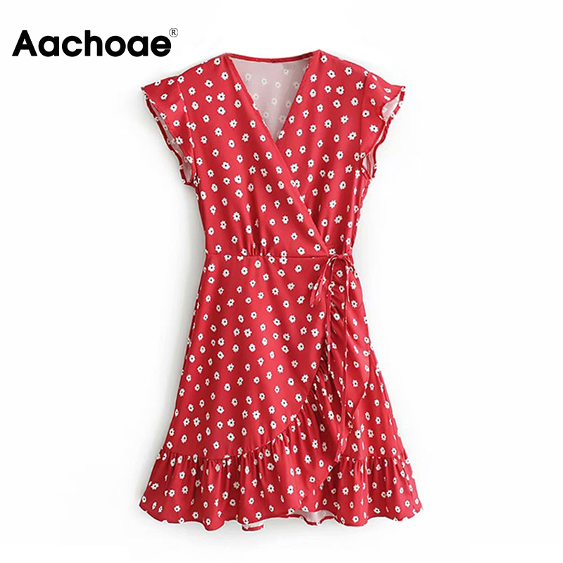 Aachoae Summer Floral Print Beach Dress 2020 Boho Style Ruffles Short Sleeve Bohemian Mini Dress Sundress A-line Dress Vestidos