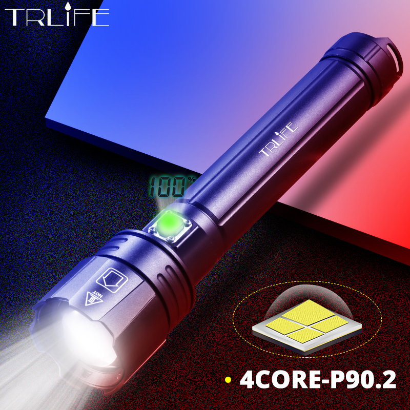 XHP90.2 Powerful LED Flashlight USB Rechargeable Lantern XHP70 XHP50 Tactical Light  Camping Riding Light  Power By 26650/18650