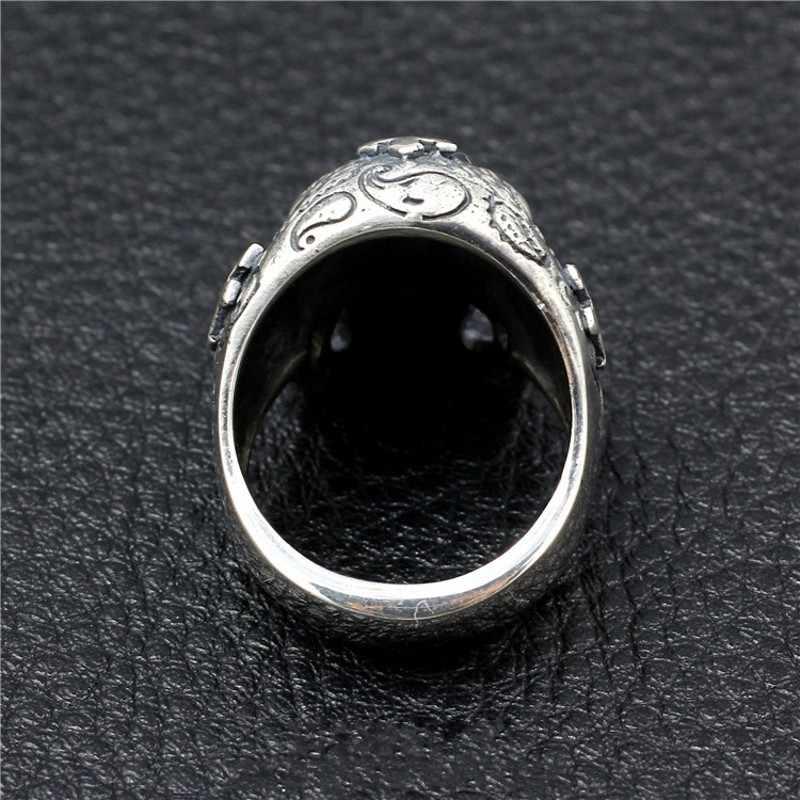 BOCAI, новинка 2019, 100%, S925, чистое серебро, Череп, кольцо, для мужчин, тайское серебро, мужское кольцо, ручная работа, крест, голова призрака, мужские модели, властные