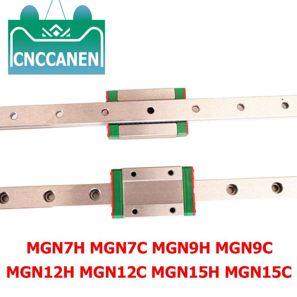 Cnc Parts MGN7 MGN12 MGN15 MGN9 100 150 200 250 300 350-550mm Miniature Linear Rail Slide 2pcMGN9 Linear Guide+2pcMGN9H Carriage