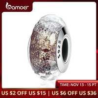 BAMOER High Quality 925 Sterling Silver European Pattern Murano Glass Charm Beads fit Women Bracelets & Bangles Jewelry SCZ061
