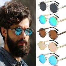 Vintage Retro polarizado Steampunk gafas de sol de gafas para conducir las mujeres de moda redondas con espejo clásico gafas