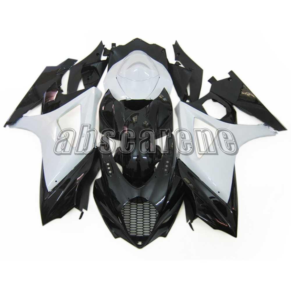 אופנוע מלא מעטפת לסוזוקי GSXR1000 K7 2007 2008 GSXR-1000 07 08 ABS פלסטיק הזרקת כיסויים מבריק שחור לבן כיסוי