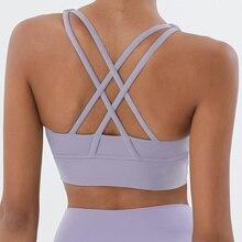 Soft Nude Sports Back Cross yoga Bra Push Up Shockproof fitness Gym Fitness Bras Crop Tops Women Plain Yoga Workout Bras