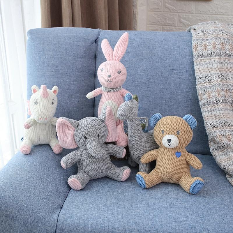 Amigurumi Stuffed Toy Doll Animal Plush Unicorn/Dinosaur/Elephant/Bear/Rabbit/Pegasus Baby Appease Sleeping Pillow Doll