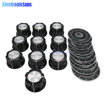 10set=20pcs MF-A03 A03 Dial Knob WTH118 Adjustable Rotate Button Potentiometer Control Knobs + 0-100 Scale Plate Sheet Scale