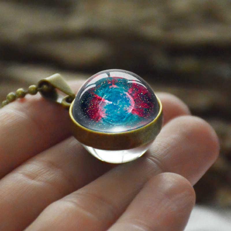 ดาวเคราะห์จี้สร้อยคอผู้หญิงผู้ชายแฟชั่น Star Galaxy สร้อยคอคู่แก้วโบราณ Bronze อุปกรณ์เสริมเครื่องประดับ