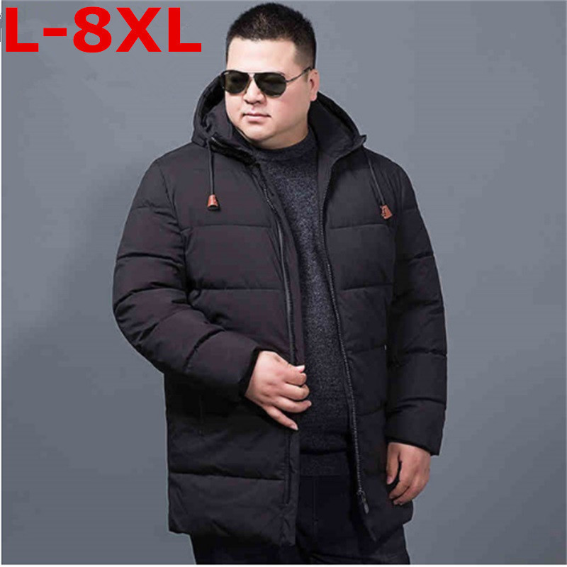 Plus Size 8XL 7XL6XL Winter Jacket Men Hooded Loose Korean Parka Hombre Long Jacket Coat Cashmere Mens Windbreaker Parkas Cotton