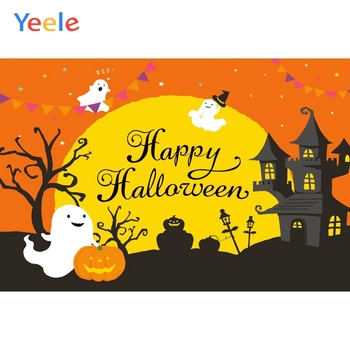Halloween Backdrop Photo Background Moon Castle Bat Pumpkin Lantern Cartoon Vinyl Photography Backgrounds Photophone Photozone