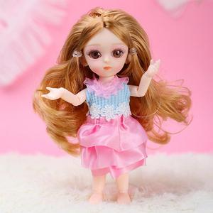 Image 3 - NEW 1Pcs 16CM/6.3IN Silicone Small Pudding Princess Doll Mini Simulation BJD Doll Not Clothes With 3D Acrylic Beauty For Girls