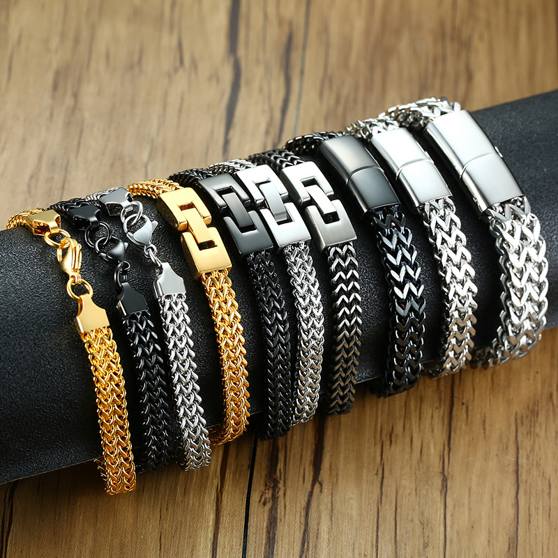 Amazing Price Stylish Stainless Steel Silverly Bali Foxtail Chain Bracelet for Men Double Link Chain Bracelets