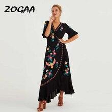 ZOGAA 2019 Bohemian New Summer Dresses Plus Size Embroidered Ruffles Spliced Long Dress Sexy V Neck Asymmetrical Beach Dress asymmetrical lace spliced tee
