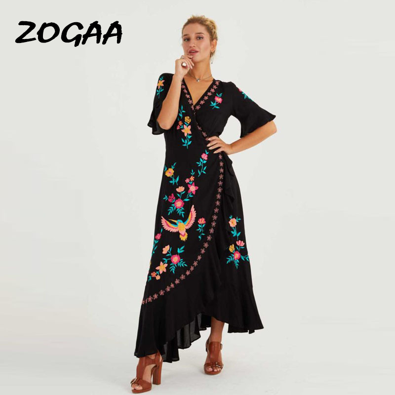 ZOGAA 2019 Bohemian New Summer <font><b>Dresses</b></font> <font><b>Plus</b></font> <font><b>Size</b></font> Embroidered Ruffles Spliced Long <font><b>Dress</b></font> <font><b>Sexy</b></font> V Neck Asymmetrical Beach <font><b>Dress</b></font> image