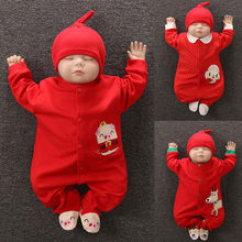 2019 Infant Foot Romper Cute Cotton Baby Newborn Boys Girls Clothing Pig Blessing Jumpsuits Baby Clothes Toddler Costumes Onesie(China)