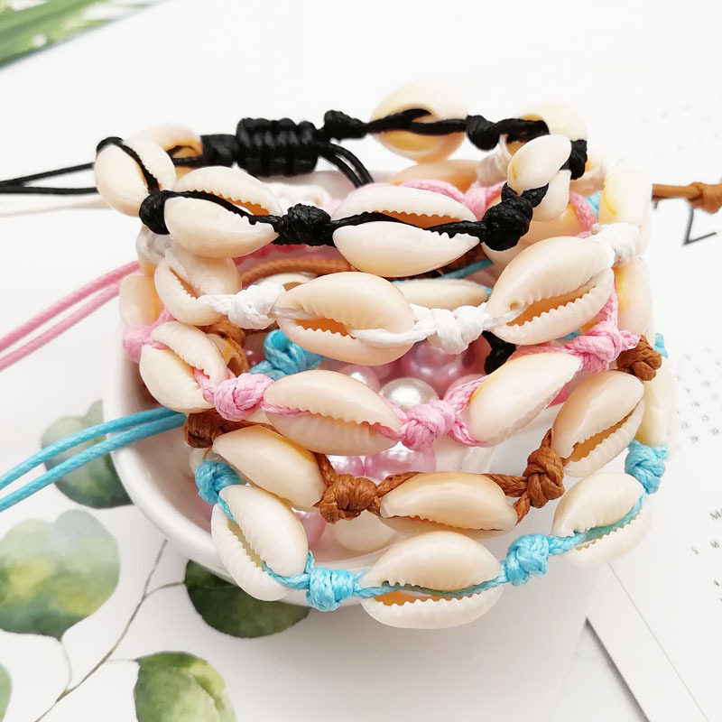 Hand-Shells-Bracelets Anklets Seashell Beaded-Strand Gift Handmade Natural Personalized