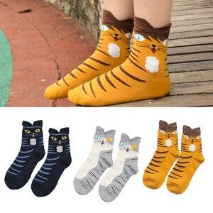 Image 4 - 3 ペア/ロットかわいい漫画の靴下夏ファッションおかしい動物女性靴下原宿カジュアル犬フクロウウサギショート綿の足首のソックス