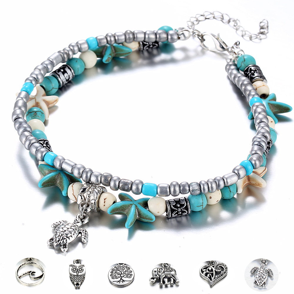 1 PC Fashion Double-Layer Anklet Bohemian Seaside Beach Anklet Chic Temperament Pendant Foot Decorating Accessories