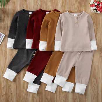 0-24M Newborn Clothes Outfits Toddler Baby Girl Boy Solid Color T-Shirt Tops Leggings Pants Knitted Baby Girls Boys Clothes Set