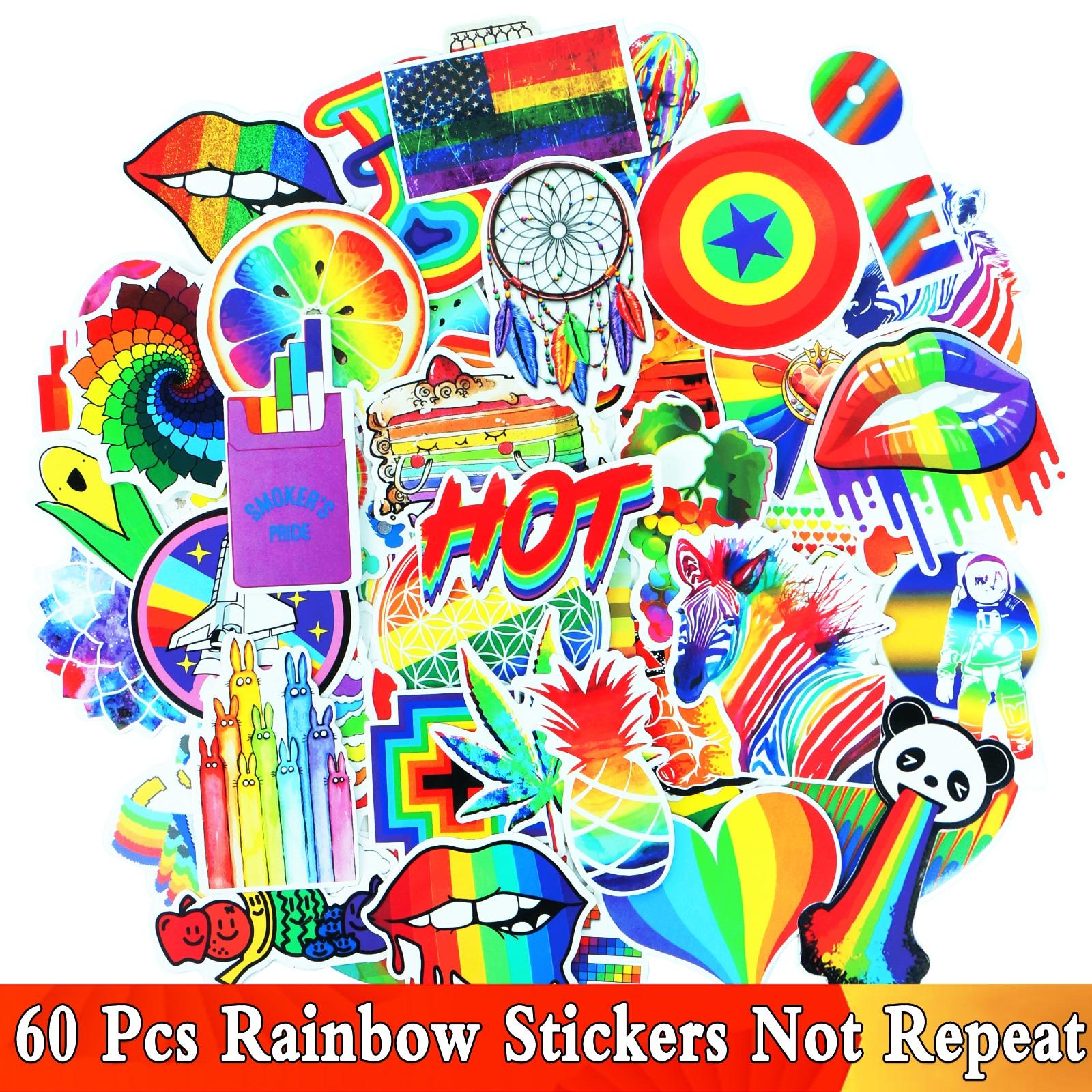 Wholesale 60 Pcs Rainbow Anime VSCO Girls Cartoon DIY Graffiti Stickers For Water Bottle Laptop Skateboard Decoration Sticker