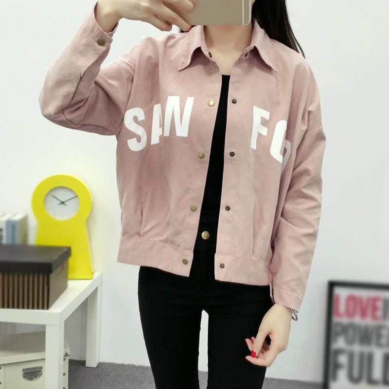 Autumn Fashion Loose Lapel Coat Casual Women Letter Printed Long Sleeve Jacket Ladies Sweet Jackets Outerwear in Jackets from Women 39 s Clothing