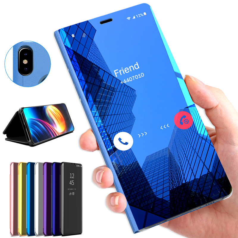 Original Silicone Case On For Samsung Galaxy A51 A71 A40 A50 A70 A70S A20S Clear Smart View Mirror Leather Flip Stand Cover Capa