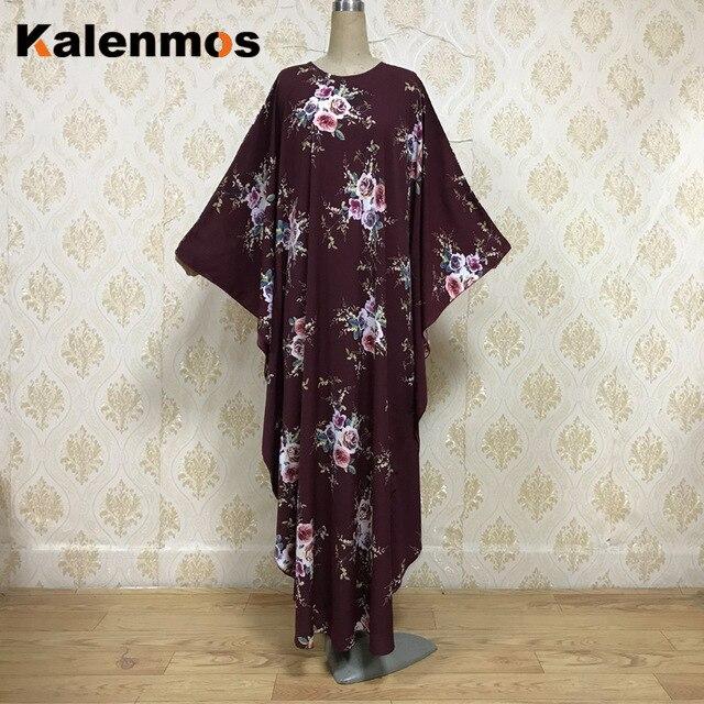 Kalenmos Eid Muslim Abaya Dress Moroccan Kaftan Ramadan Islamic Women Dubai Print Flower Prayer hijab dresses Caftan Long Robe 1