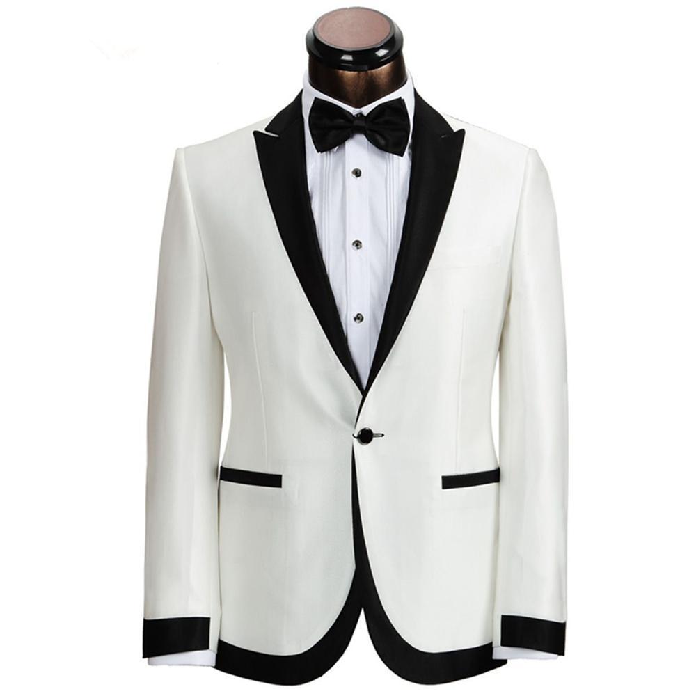 2020 New Custom Made Ivory With Black Collar Groom Tuxedos Man Wedding Suits Prom Formal Bridegroom Suit Jacket 011