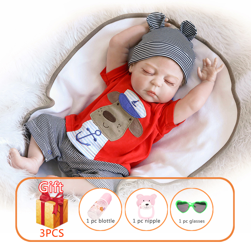 56cm NPK Reborn Baby Doll Sleeping Angel Whole Silicone Dolls Lifelike Baby Doll Soft Simulate Real Baby Toys For Children