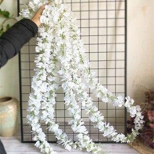 Image 2 - 120cm long Artificial Wisteria Flower Vine Silk Hydrangea rattan DIY Wedding birthday party Decoration Wall backdrop flowers