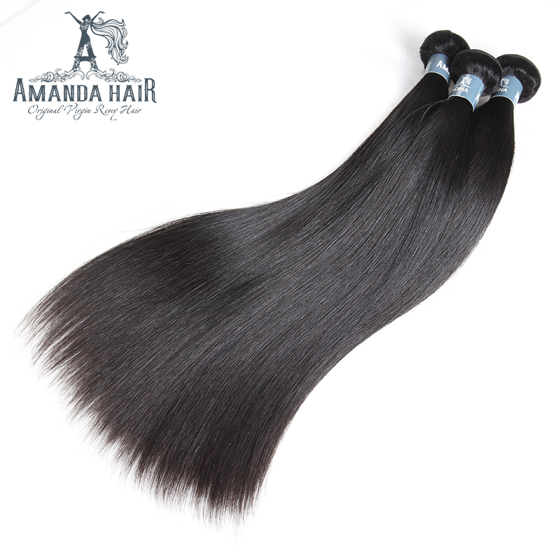 Amanda 4 Bundles Straight Virgin Hair Brazilian Hair Weave Bundles 100% Unprocessed Human Hair 10-30 Inches Mixed Length