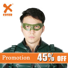 Xcoser Green Arrow Mask Updated Version Oliver Queen Cosplay Green Leather Eye Patch Mask For Halloween(China)