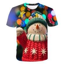 Children Boys and Girls 4-14 Years Old T-shirt Santa Claus T-shirt Elf Short Sleeve T-shirt, Elf Santa Reindeer 3D T-shirt
