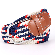 High Quality Fashionable Elastic Canvas Belts for Women Knitted Buckle Adjustable Belt Male Jeans 19 Colors NEW