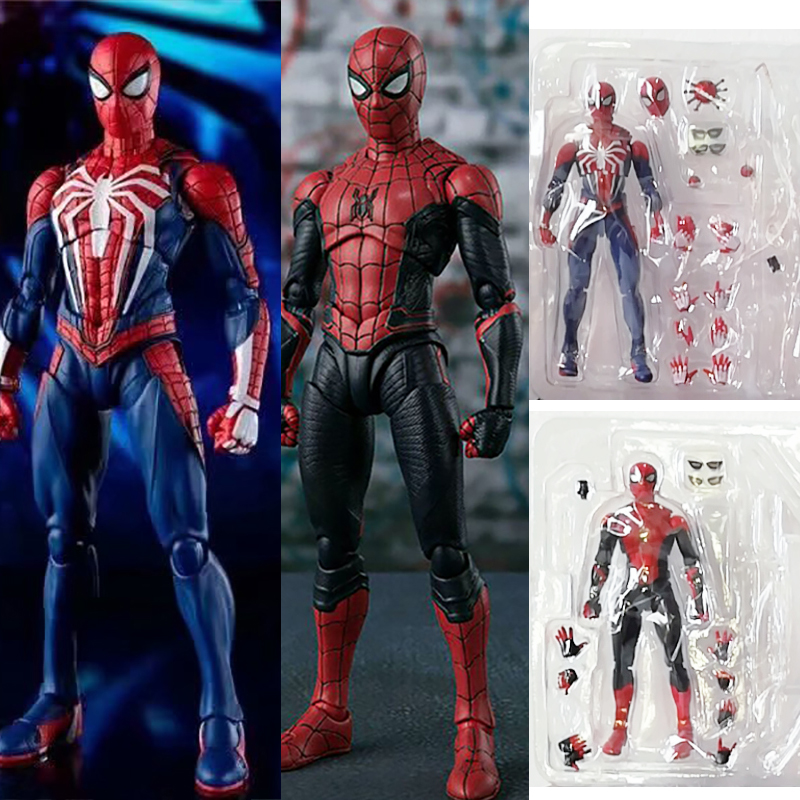 15cm SHF Far From Home Super Hero Spider Man Upgrade Suit PS4 Game Edition SpiderMan PVC Action Figure Toy Doll Gift image
