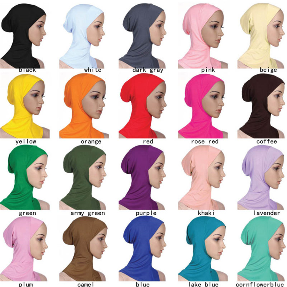 Image 4 - Muslim Women Girls Sport Inner Hijab Caps Islamic Soft Stretchble  Underscarf Hats Crossover Classic Style WholesaleIslamic Clothing   -