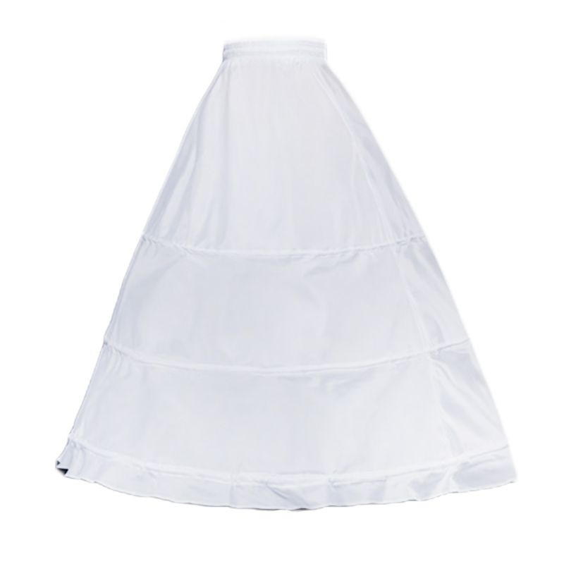 Womens Single Layer 3 Hoops White Petticoat Wedding Gridal Gown Dress Bridal Crinolines Drawstring Waist A-Line Underskirt
