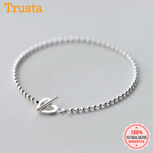 Trusta – Bracelet de perles en forme d'étoile et de cœur pour adolescentes, bijoux en argent Sterling 100% solide de 16cm, cadeau pour femmes, DS1014, 925
