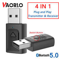 Newest 4 in 1 USB Bluetooth Transmtitter & USB Bluetooth Audio Receiver 3.5 mm Aux Stereo 5.0 Wireless Adapter For PC TV Car Kit