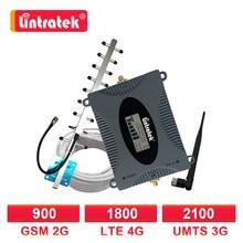 Lintratek – amplificateur de Signal 2G/3G/4G LTE, kit répéteur avec antenne Yagi, 1800/1800/900/10M, avec écran LCD, WCDMA 2100