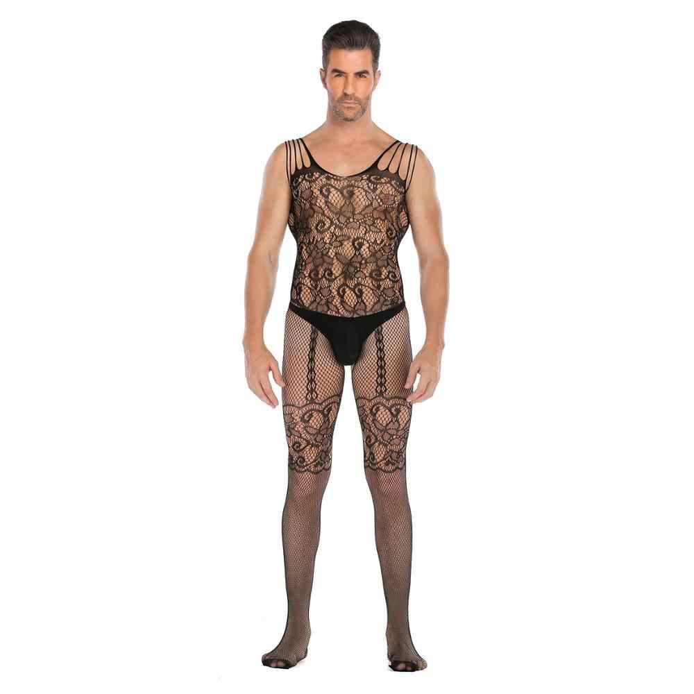 Sexy Lingerie Porno Exotische Bodysuit Mannen Sexy Lingerie Netto Kousen Ultradunne Sling Netting Ondergoed Slang