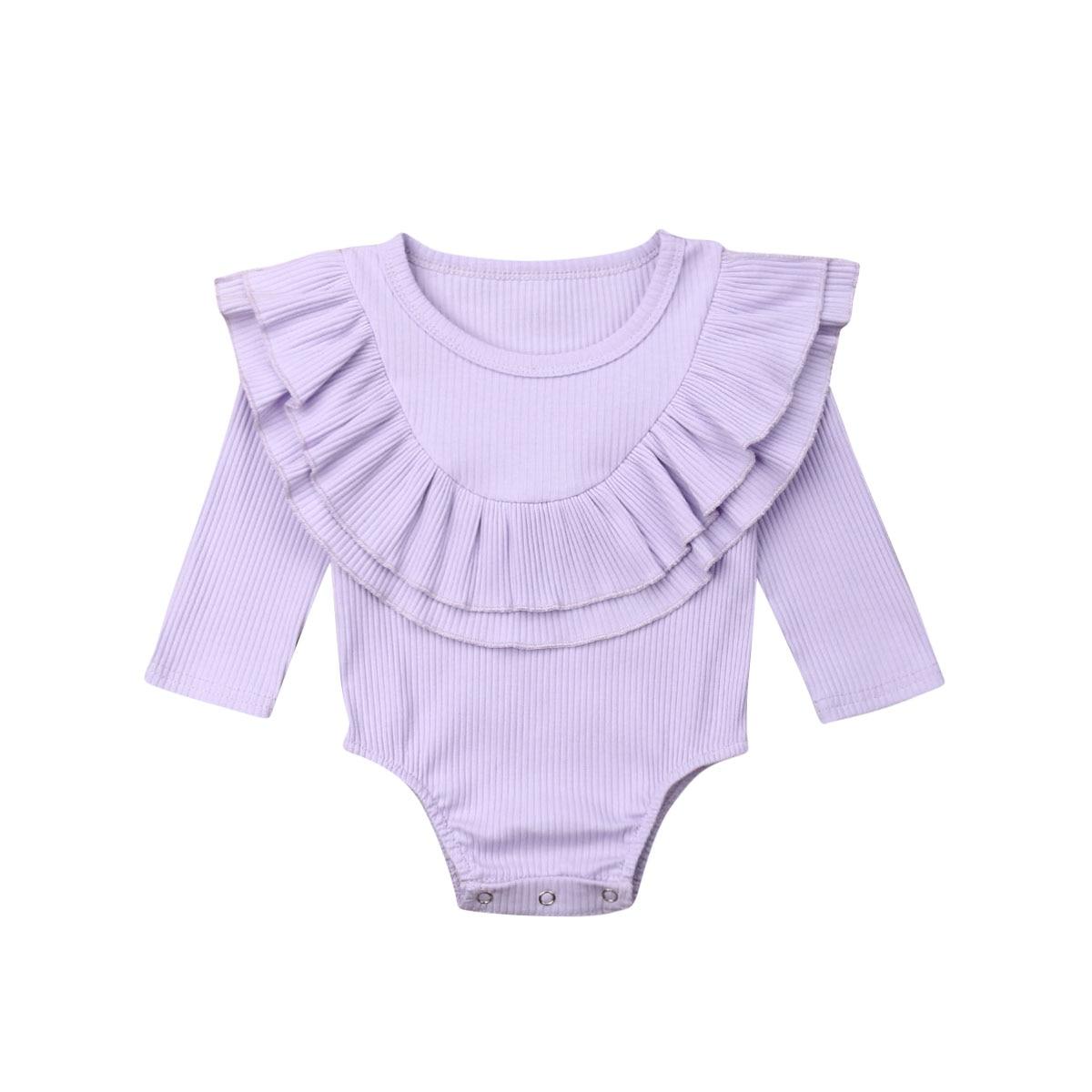 Ribbed Solid Long Sleeve Bodysuit -purple-
