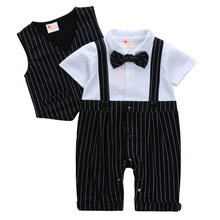 Baby Romper Summer Baby Boys Clothes Gentleman Tie Jumpsuit+Vest Jacket Newborn Clothes Kids Costume For Baby Overalls Clothes