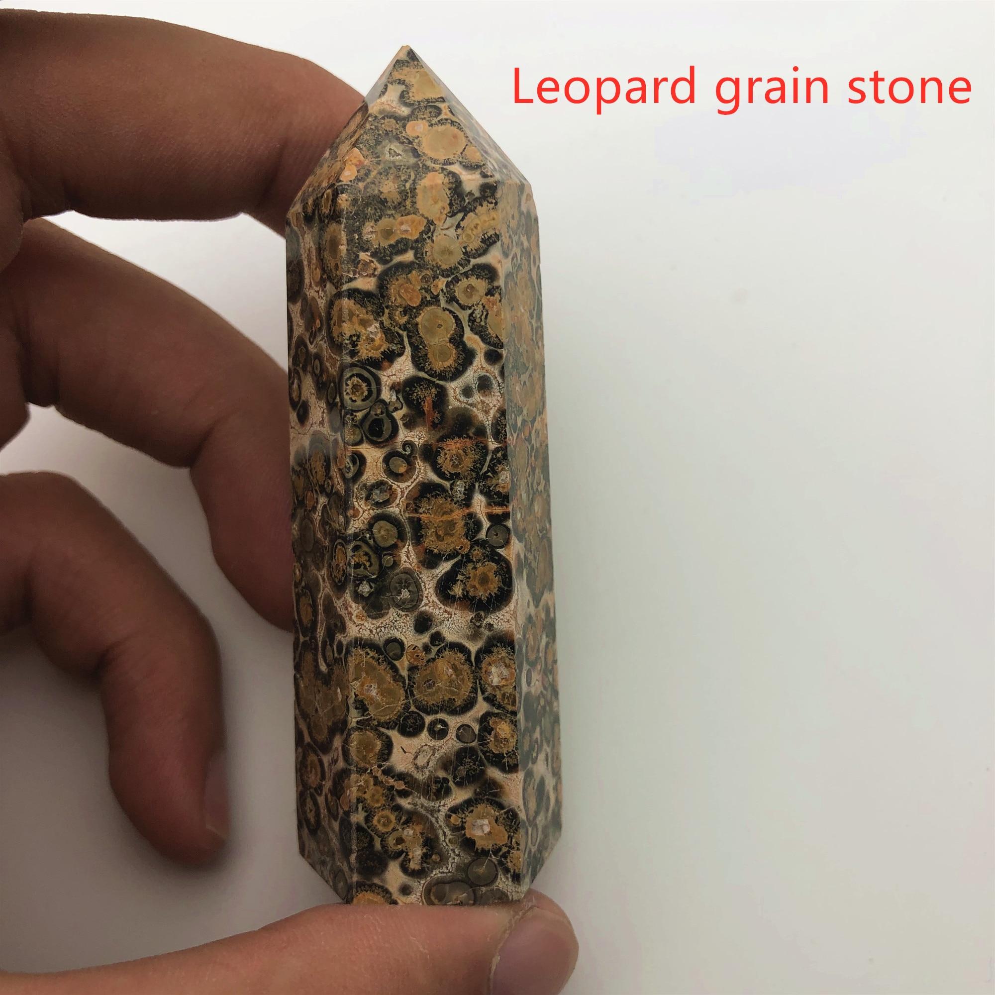 24 камень точка набор башня Wicca Исцеление Кристалл шестиугольник природные минералы волшебная палочка домашний декор аметист розовый кварц - Цвет: Leopard grain