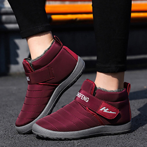 Image 5 - Womens Boots Winter Large Size 43 45 Hook Loop Sturdy Sole Ankle Boots Women Solid Plush Snow Boots Woman warm Shoes Cheap