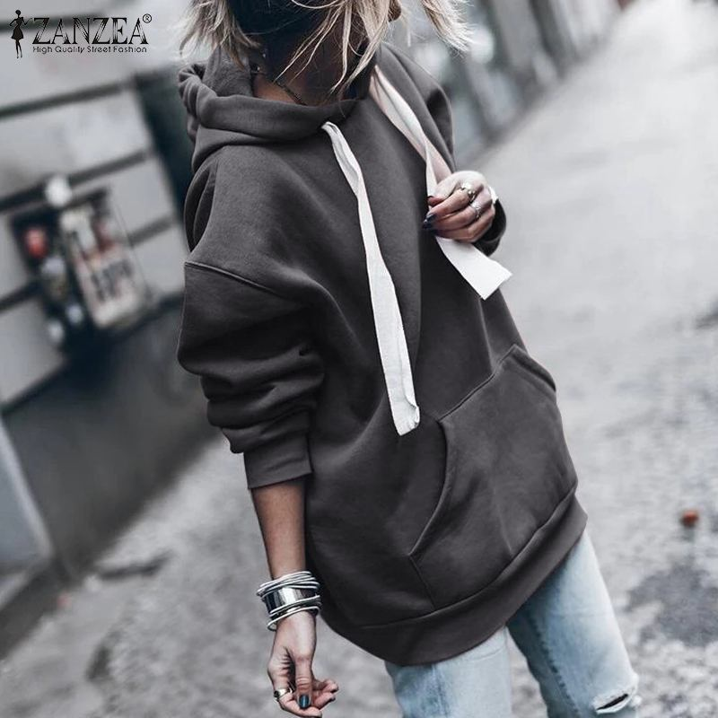 ZANZEA Autumn Women Hoodies Sweatshirts Pockets Pullover 2020 New Fashion Long Sleeve Strappy Hoodie Sweatshirt Pullover Jumper