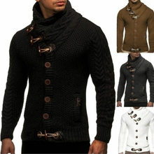 Style chaud souhait qiu dong hommes cultiver moralité col roulé simple boutonnage cardigan grands yards à manches longues pull en tricot(China)