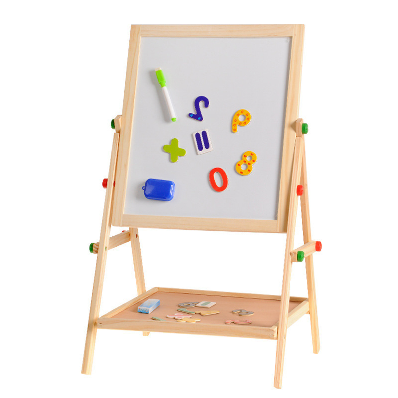 Wooden Drawing Blackboard Whiteboard Double Sided Adjustable Easel Painting Toy Early Education Learning Toys For Children Kids