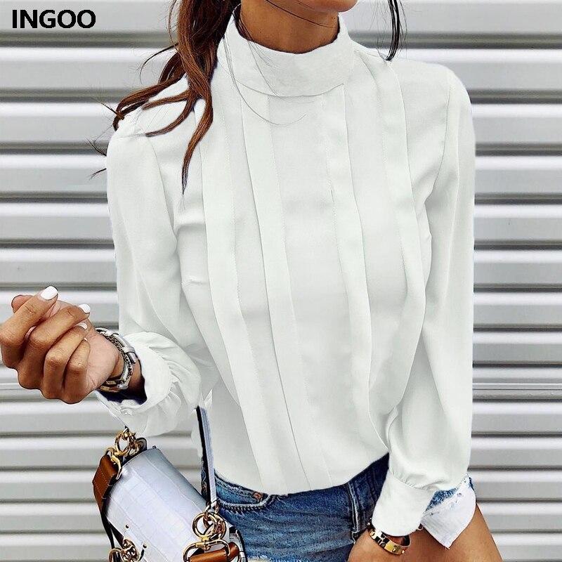 INGOO Autumn Office Women Shirt Pleated Button Turtleneck Lantern Sleeve Summer Fashion Ruched Chiffon Patchwork Blue Blouse